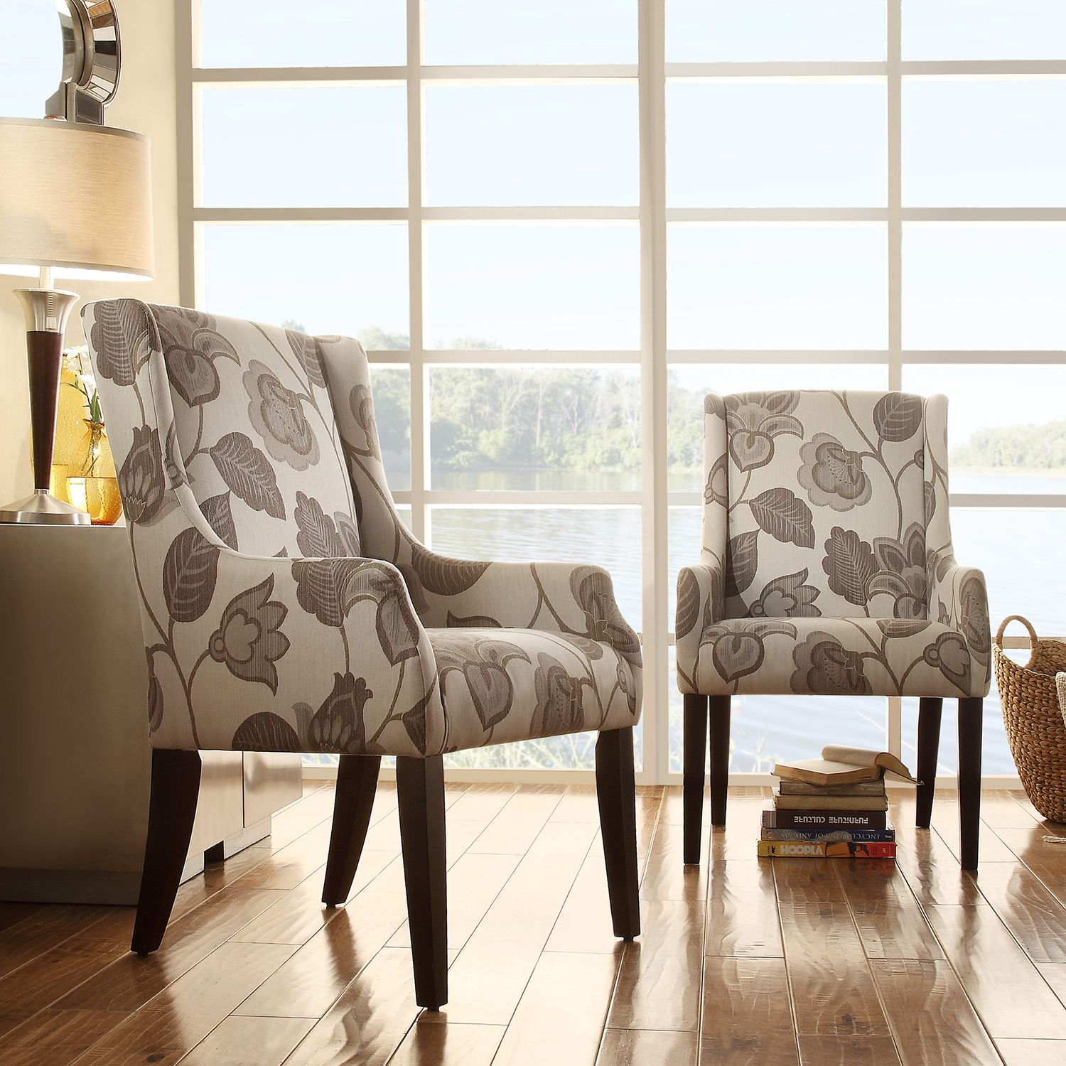 INSPIRE Q Jourdan Grey Floral Sloped Arm Hostess Chair | Overstock.com  Shopping - The
