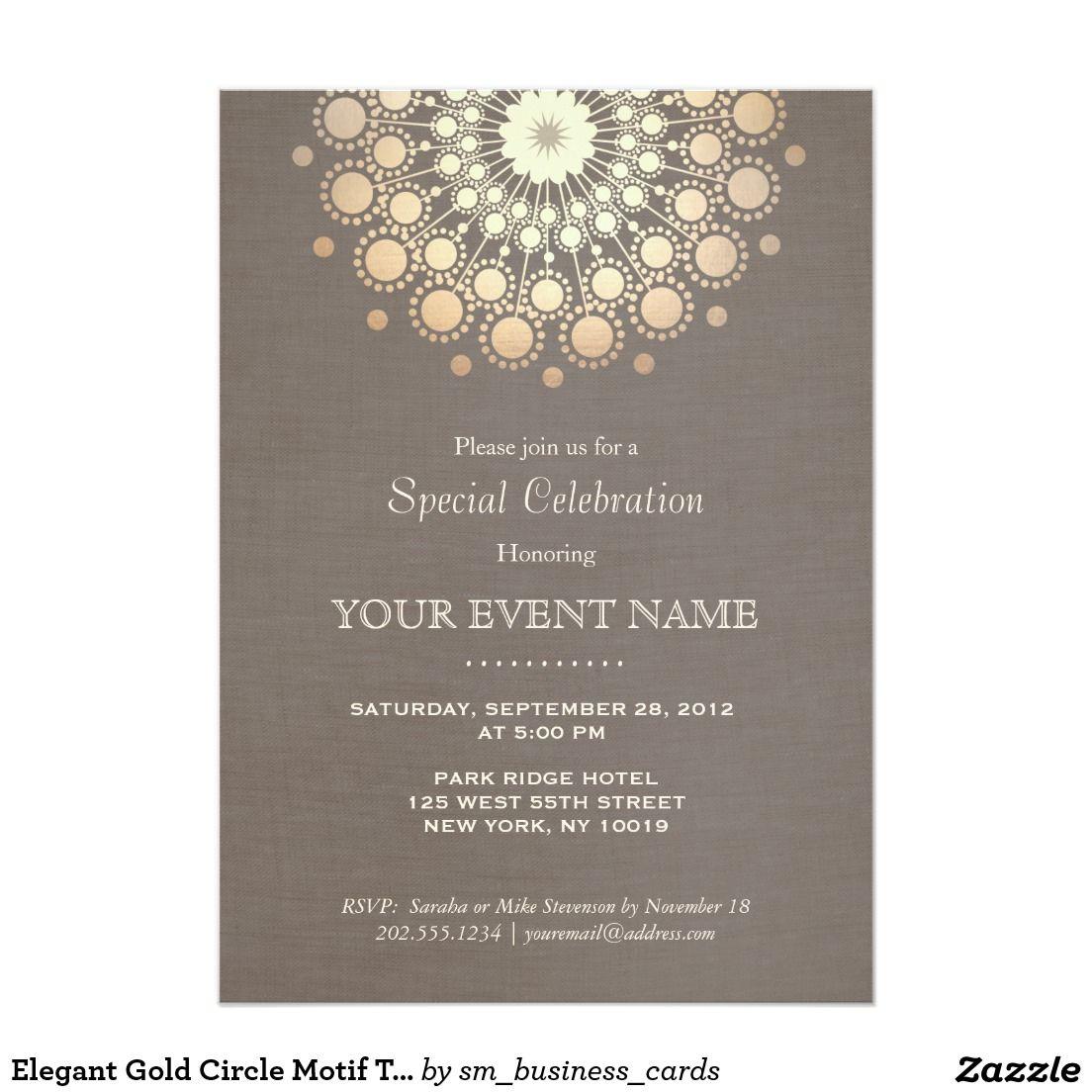 Elegant Gold Circle Motif Taupe Linen Look Formal Card | Formal invitation,  Dinner invitation template, Invitation template