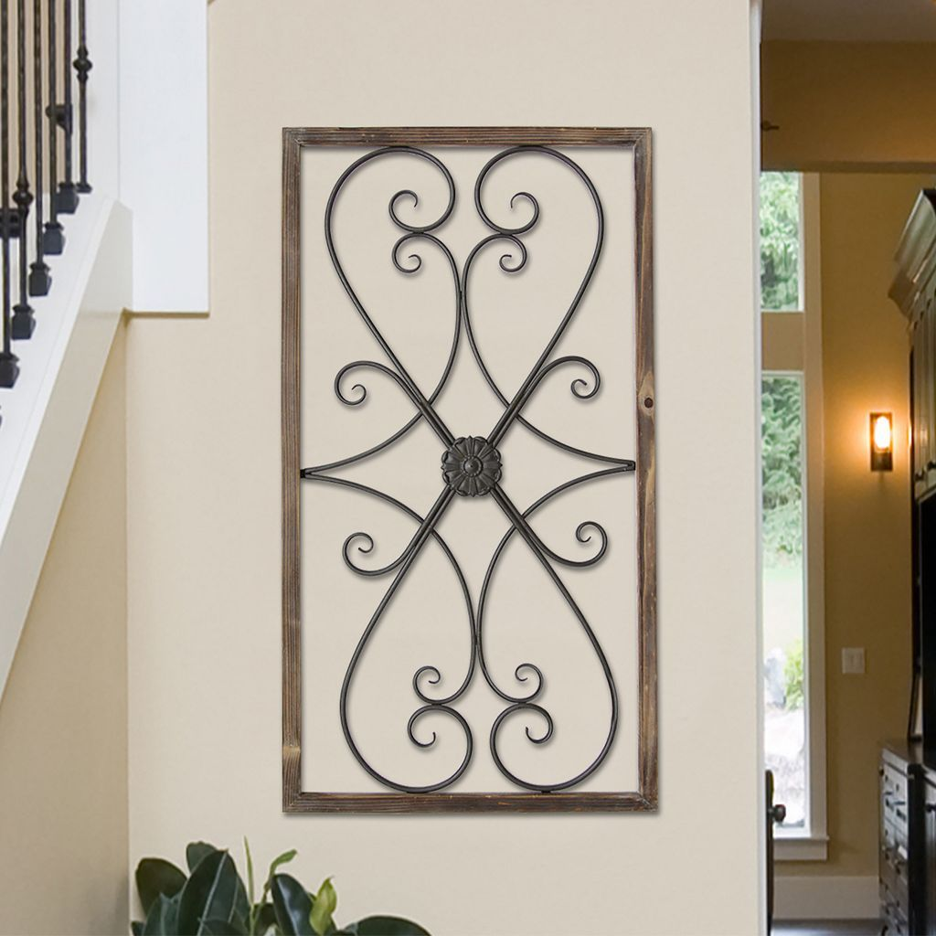 Stratton home decor farmhouse metal u wood scroll wall decor wall