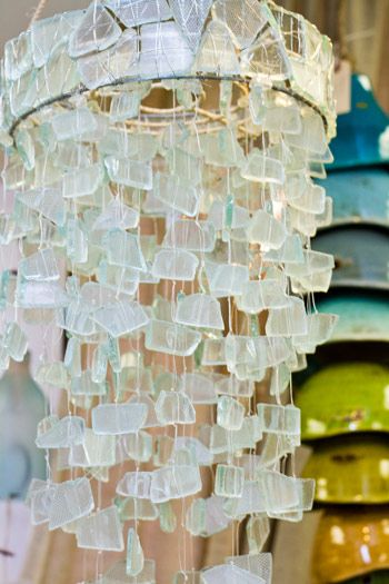 Chandelier or pendant light from aqua sea glass | Let There Be ...