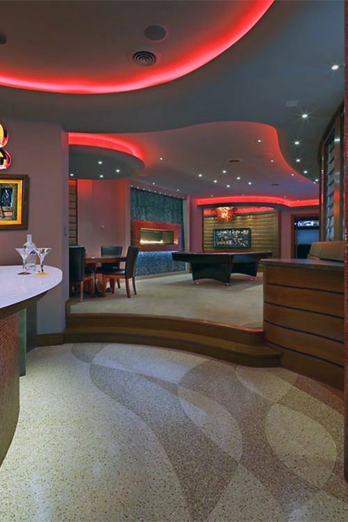 Modern Basement With Lighting On Ceiling