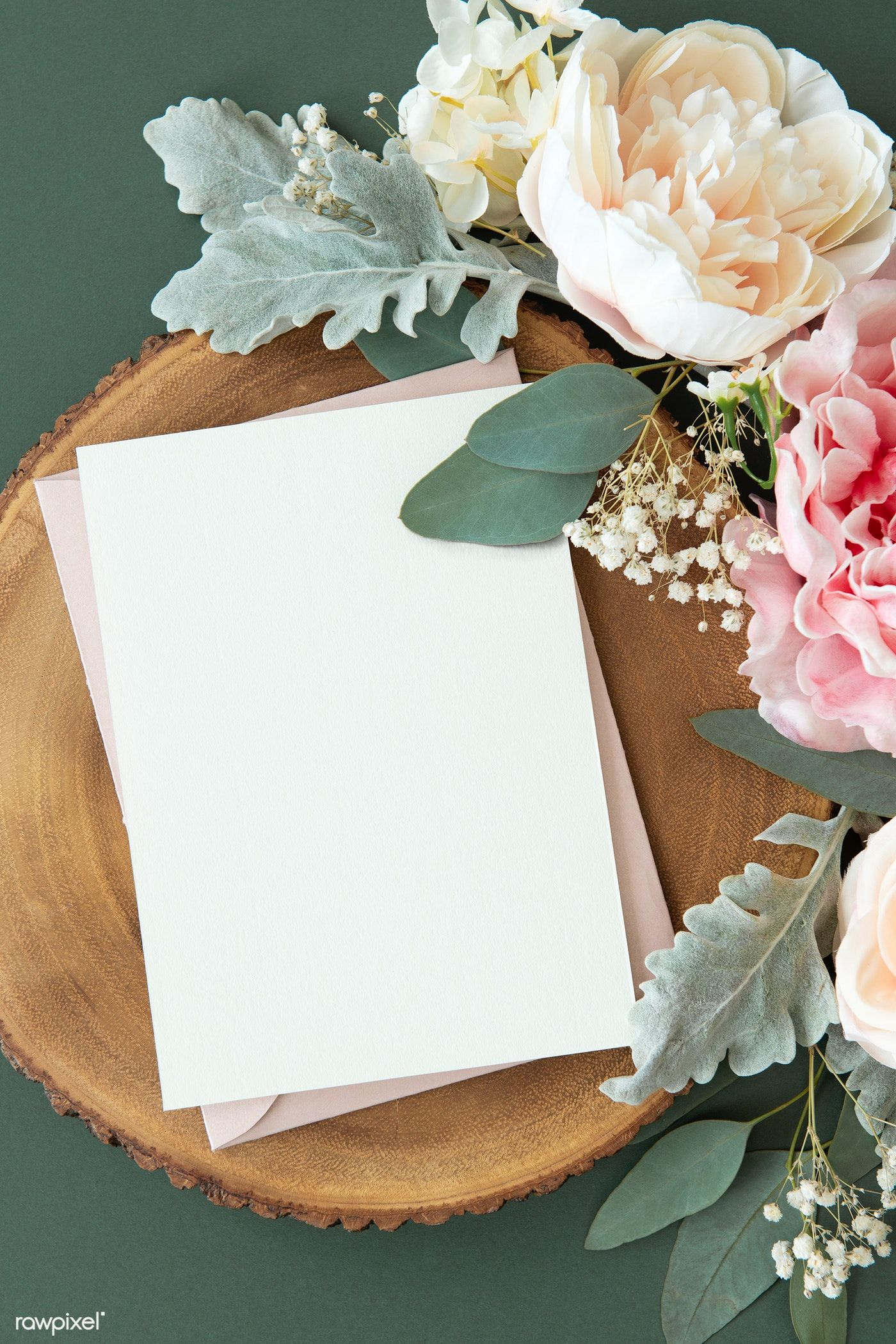 Download Premium Psd Of Blank White Card Template Mockup And Roses 1204247 Floral Poster Flower Background Wallpaper Instagram Frame