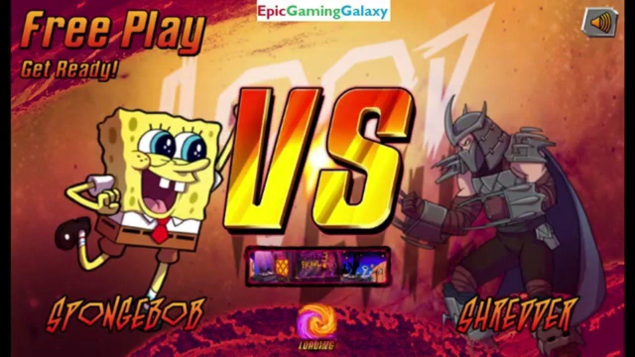 the shredder vs spongebob squarepants in a nickelodeon superhero