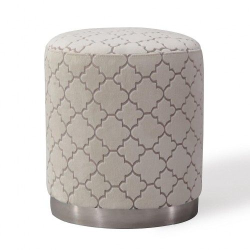 Leather Sofa Cream Velvet Quatrefoil Pattern Round Ottoman Footstool