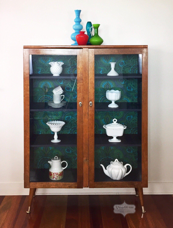 Vintage Glass Door Cabinet Bookcase Retro Mid Century Atomic Legs