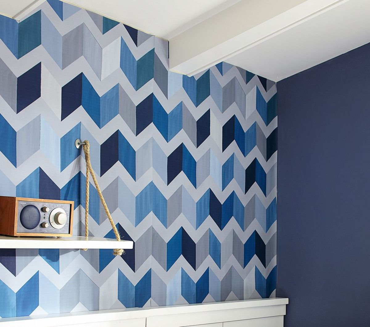 Blue Chevron Wall Pattern From Pattoery Barn To Back Of Desk