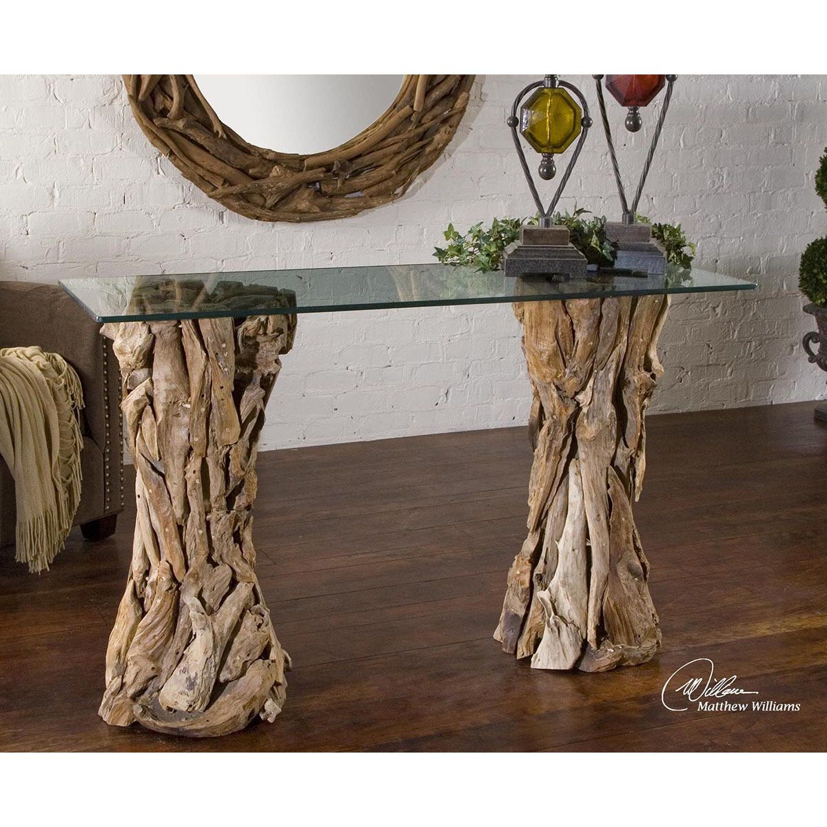 Glass console table decor  Uttermost Teak Root Glass Top Console Table   Uttermost