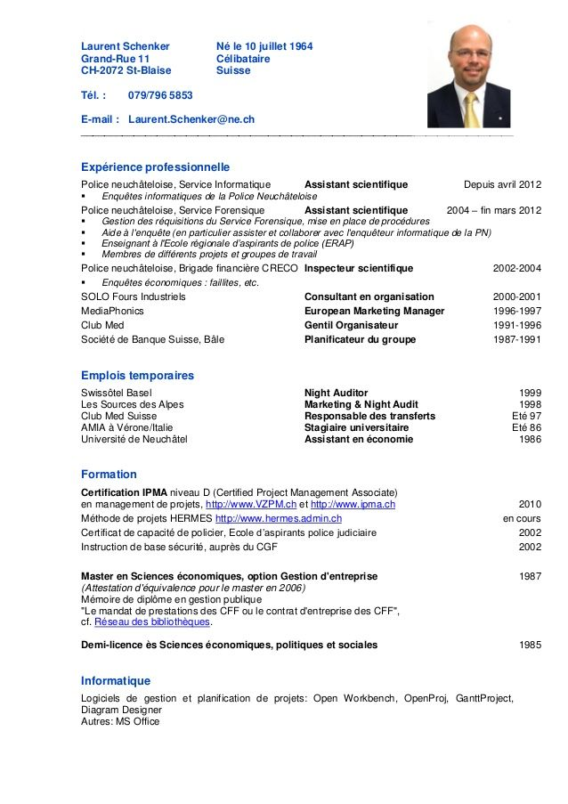 exemple cv ingenieur informatique en suisse