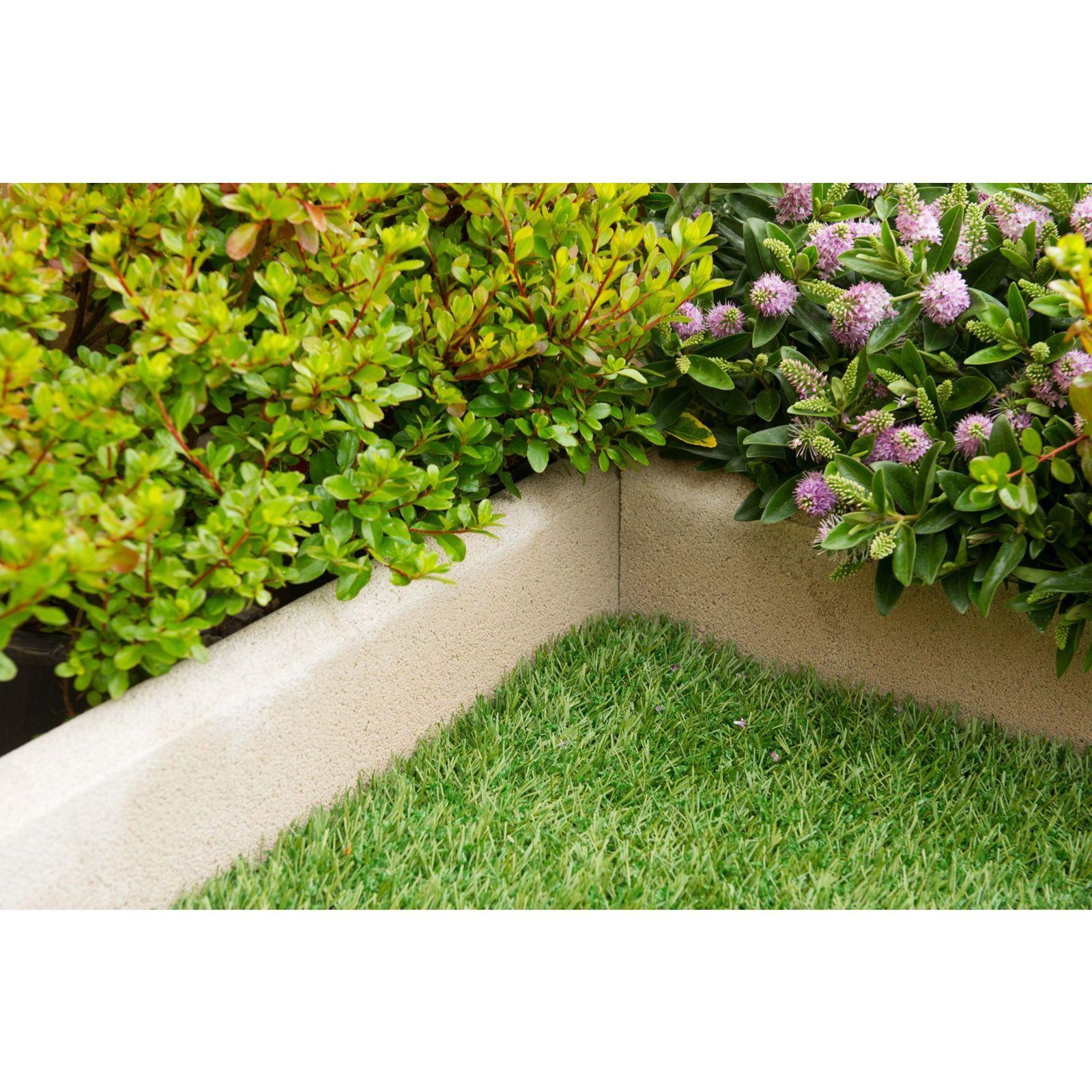 Stylish Stone Round Top Edging 600mm Grey Back Gardens Garden