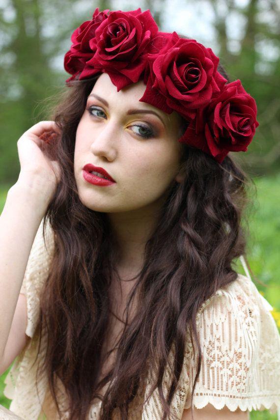 velvet deep red flower crown