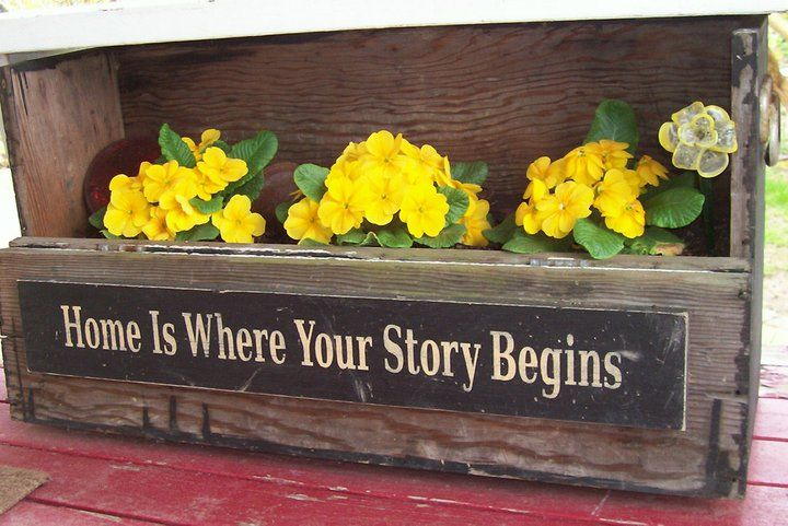 Make flower box out of barn lumber then add a sign to front.