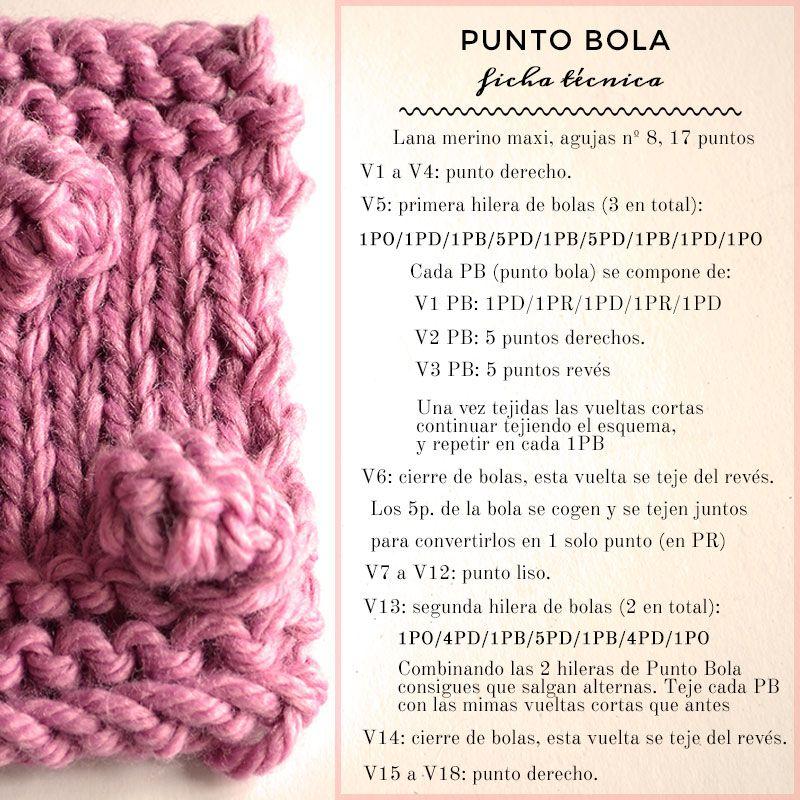 Ficha técnica para aprender a tejer Punto Bola. | punto | Pinterest ...