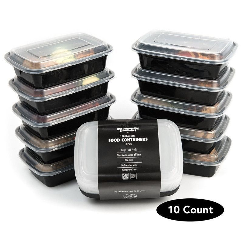 Set Of 10 1 Compartment Food Storage Containers Stackable With Lids Bpa Free Microwave Freezer And Dishwasher Safe