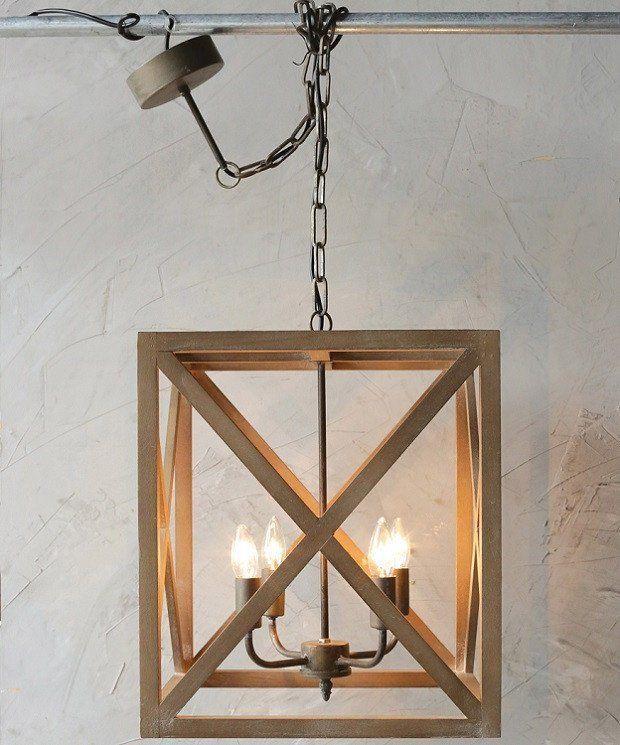 Wood and Metal Square Chandelier Wood, metal chandelier