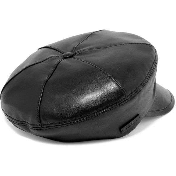 c7b2702b Prada Leather cap ($480) ❤ liked on Polyvore featuring accessories, hats,  newsboy hat, leather cap, prada hat, leather newsboy hat and apple cap