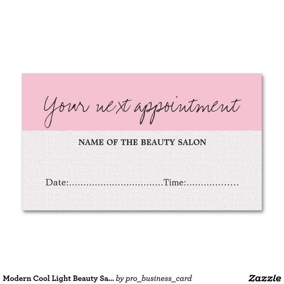 Modern Cool Light Beauty Salon Appointment Card | Business cards