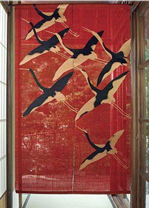 Crane. Red. Japanese Design. Traditional Japanese. Rustic Japan. Noren