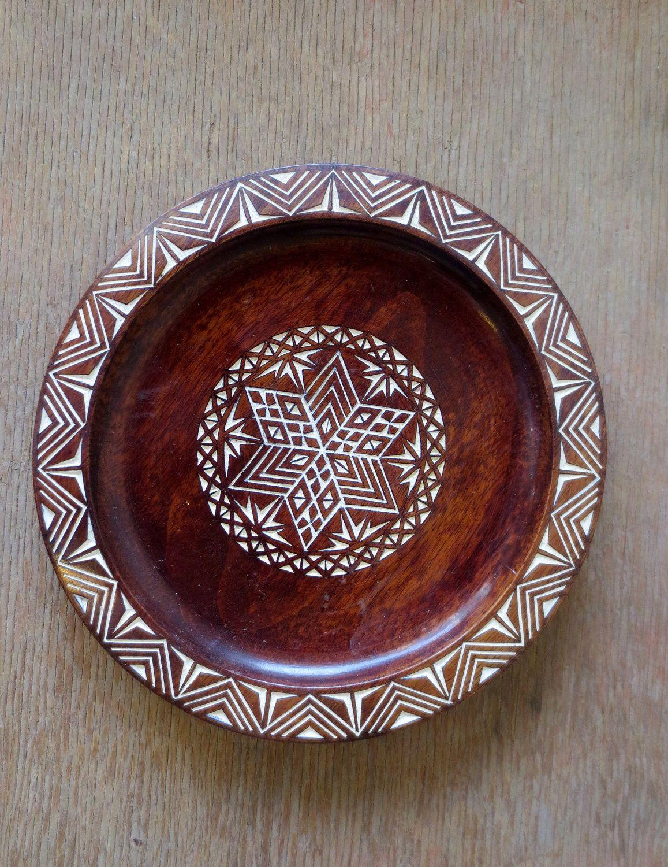 Vintage Yugoslavian Carved Wooden Decorative Plate & Vintage Yugoslavian Carved Wooden Decorative Plate   Pottery Plates ...