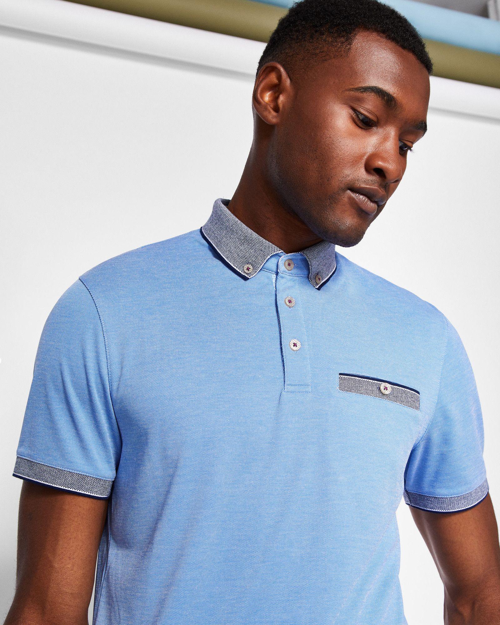 c61764afcc6eae Oxford flat knit polo shirt - Blue