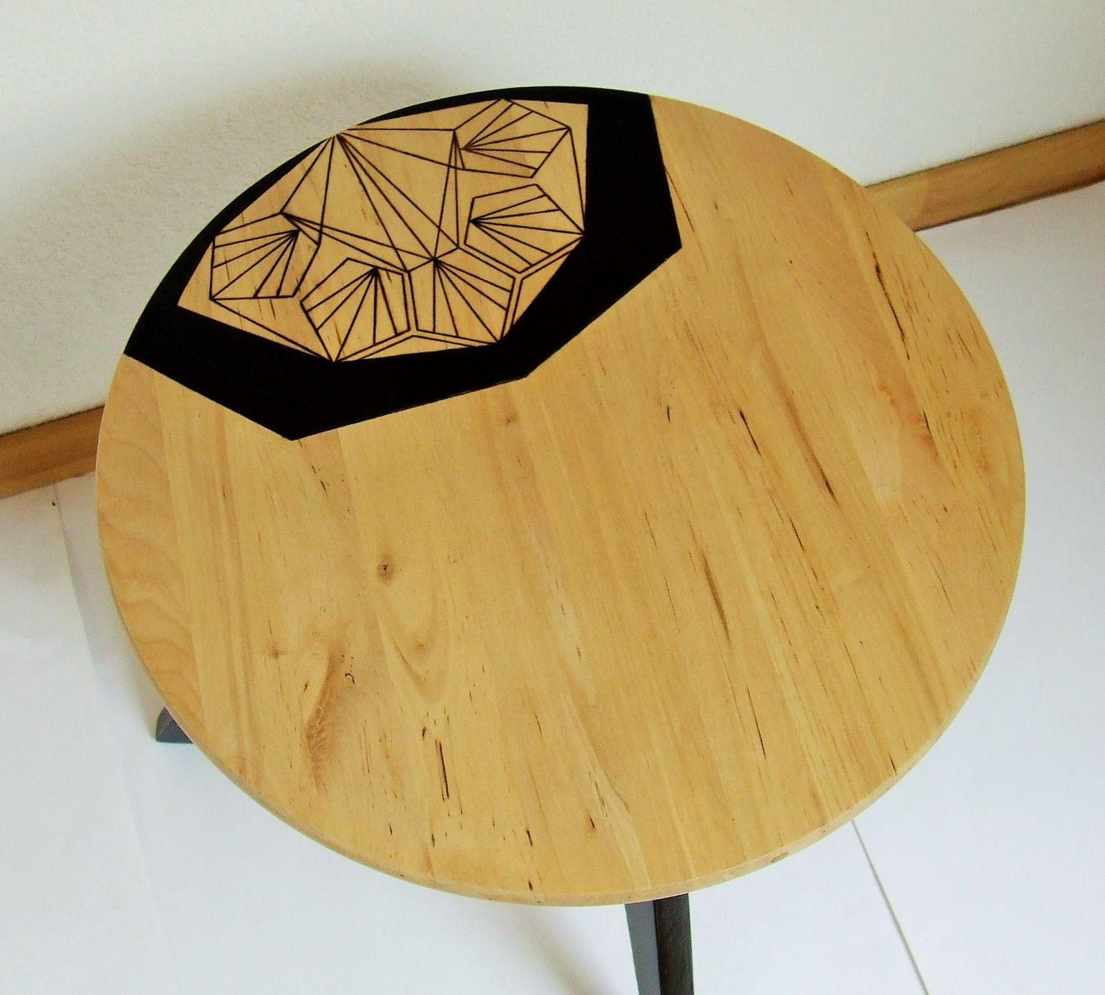 Table Basse Ronde En Bois Style Scandinave Motif