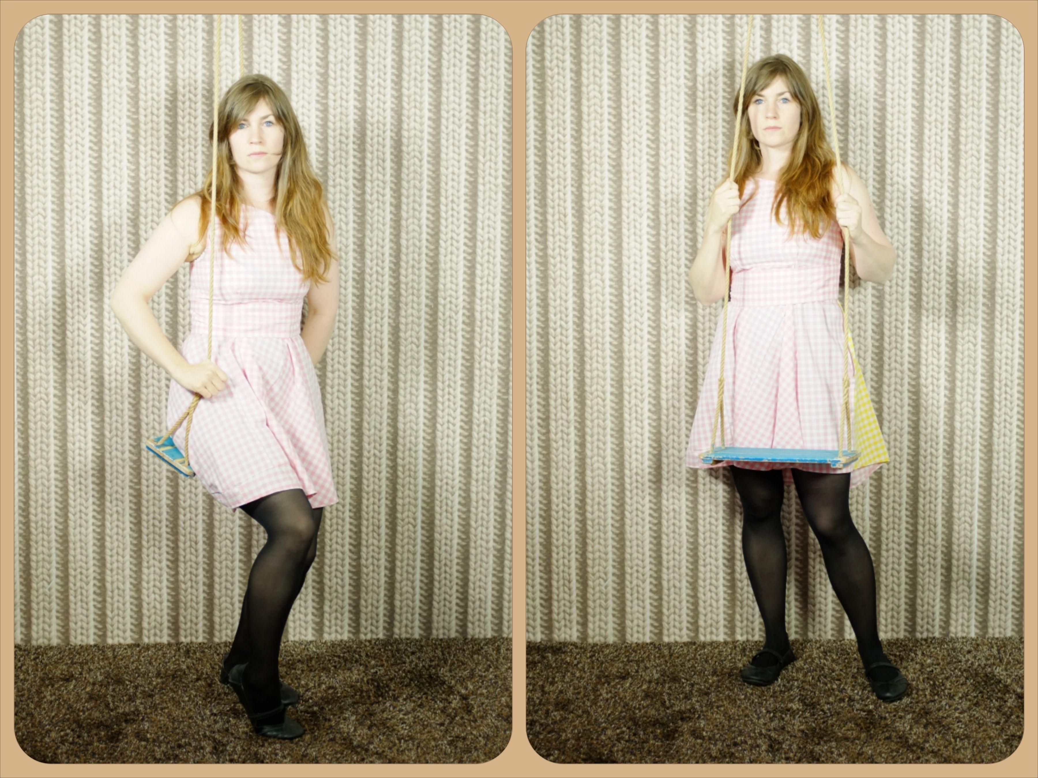 Séraphine création Berthe en Bottes.  robe vichy rose, esprit Brigitte Bardot