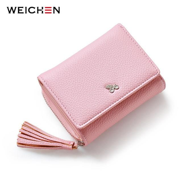 WEICHEN Tassels Zipper\Hasp Women Wallet For Coin Card Cash - cash invoice