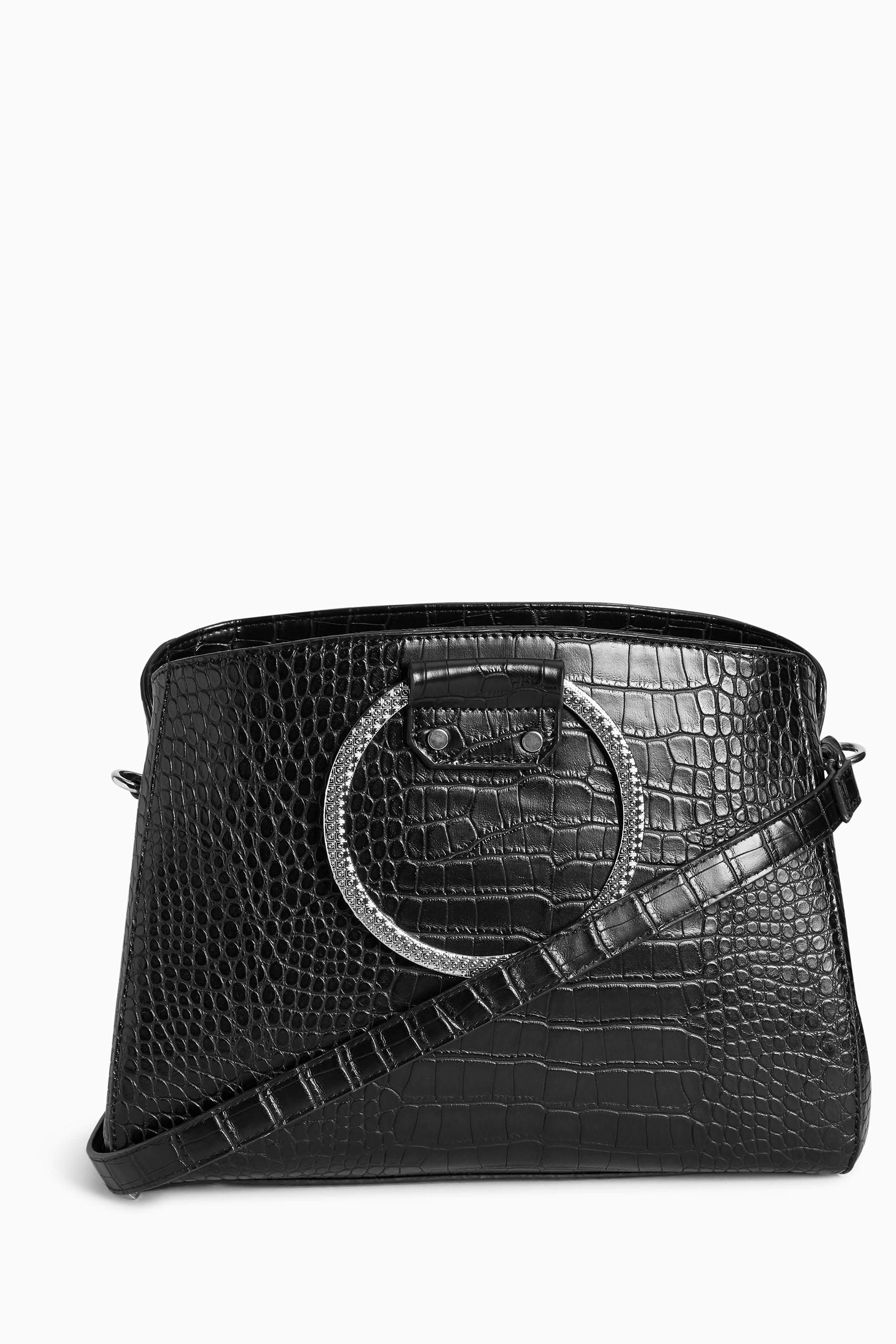 Buy Black Croc Effect Ring Handle Bag from the Next UK online shop ...