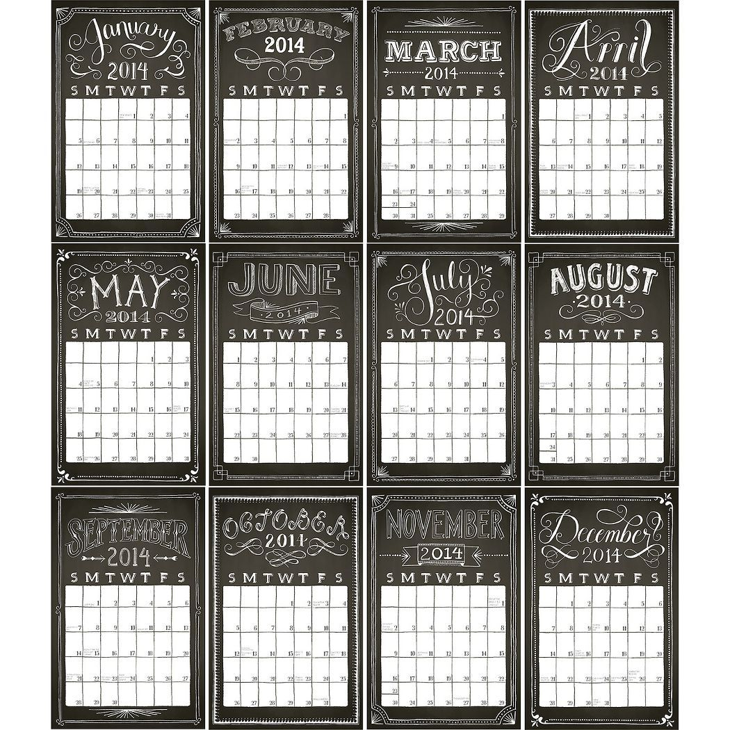 2014 Paper Source Chalkboard Wall Grid Calendar