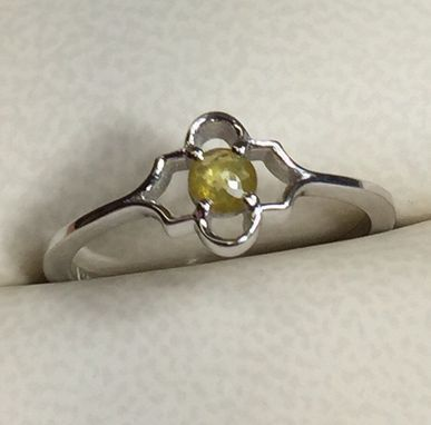 Custom Made Natural Not Treated Yellow Rose Cut Diamond Wedding Ring, Vintage Inspired Feminine Engagement Ring