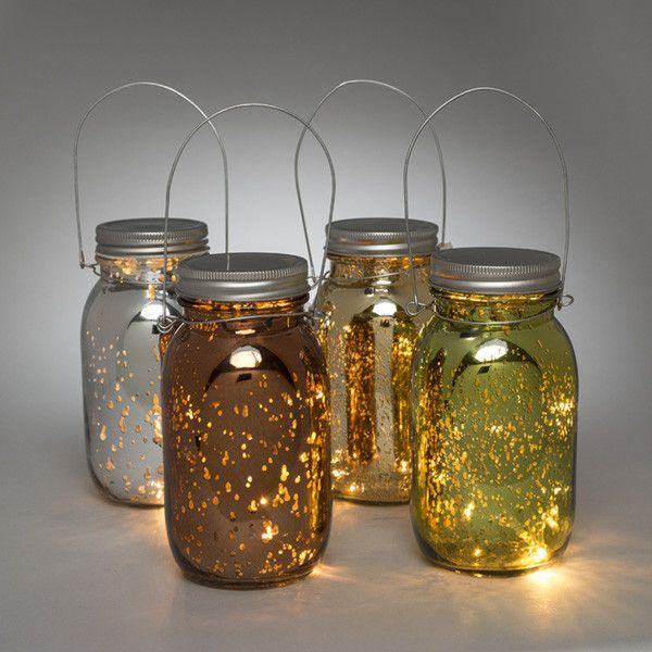 Mercury Glass Mason Jar W Fairy Lights Mason Jar Lanterns