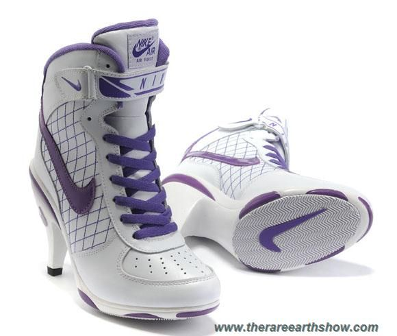 info for 2b55a 56479 White Purple Women Nike Air Force High Heels Outlet