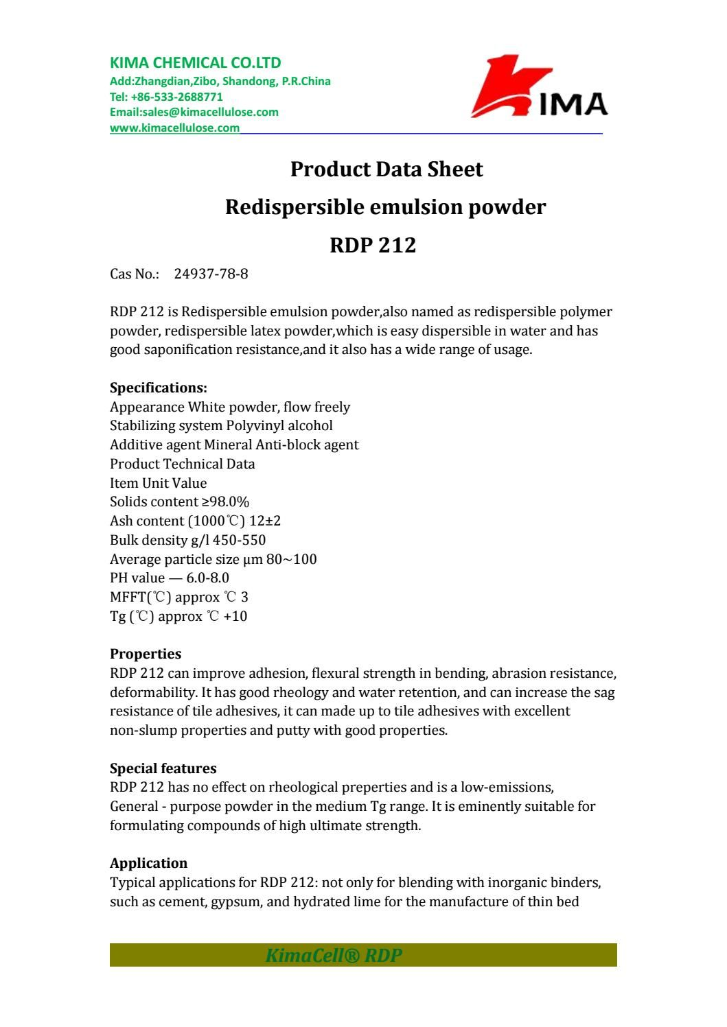Redispersible Polymer Powder Rdp 212 Sales Kimacellulose Com Zibo Data Sheets Polymer