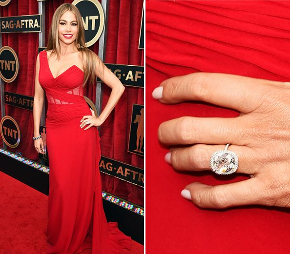 Big Photo for a Big Rock: Sofia Vergara Shows Off Her Huge Engagement Ring at the SAG Awards #InStyle