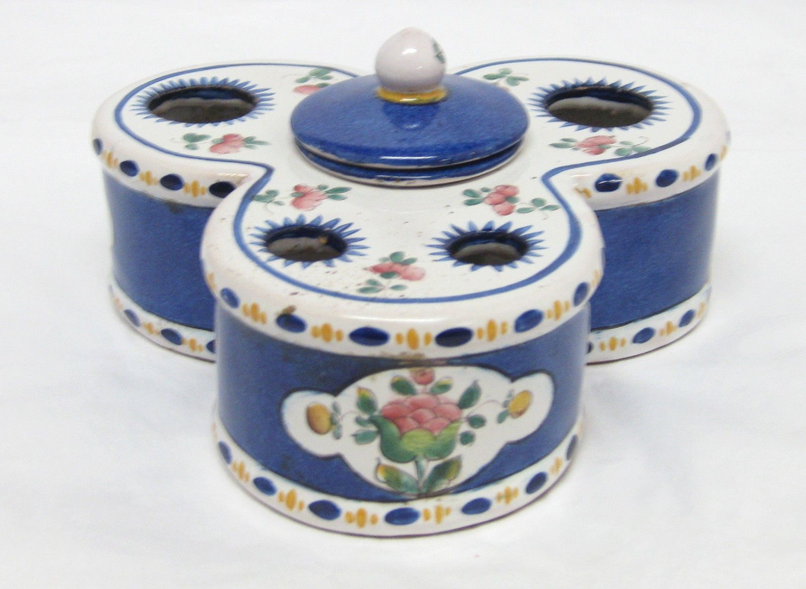19th Century Quimper Porcelain Inkwell Blue White Pink Floral Striped Design | eBay