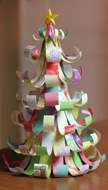 Dig out those beloved paper scraps to create a Christmas tree