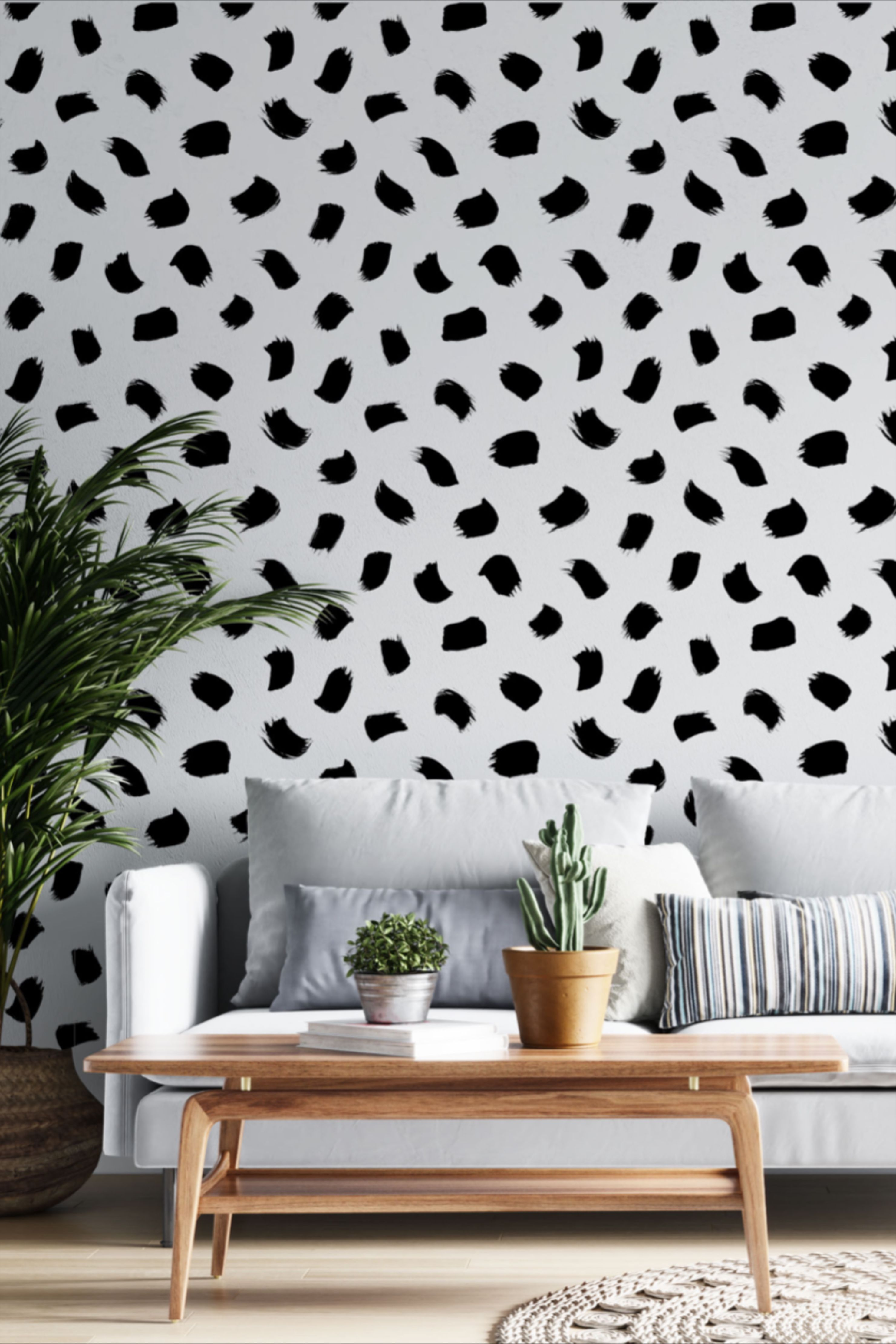 Black And White Brush Stroke Wallpaper Peel And Stick Watercolor Self Adhesive Wall Covering Dalmatian Dots Wall Mural In 2021 How To Install Wallpaper Brush Strokes Diy Wallpaper