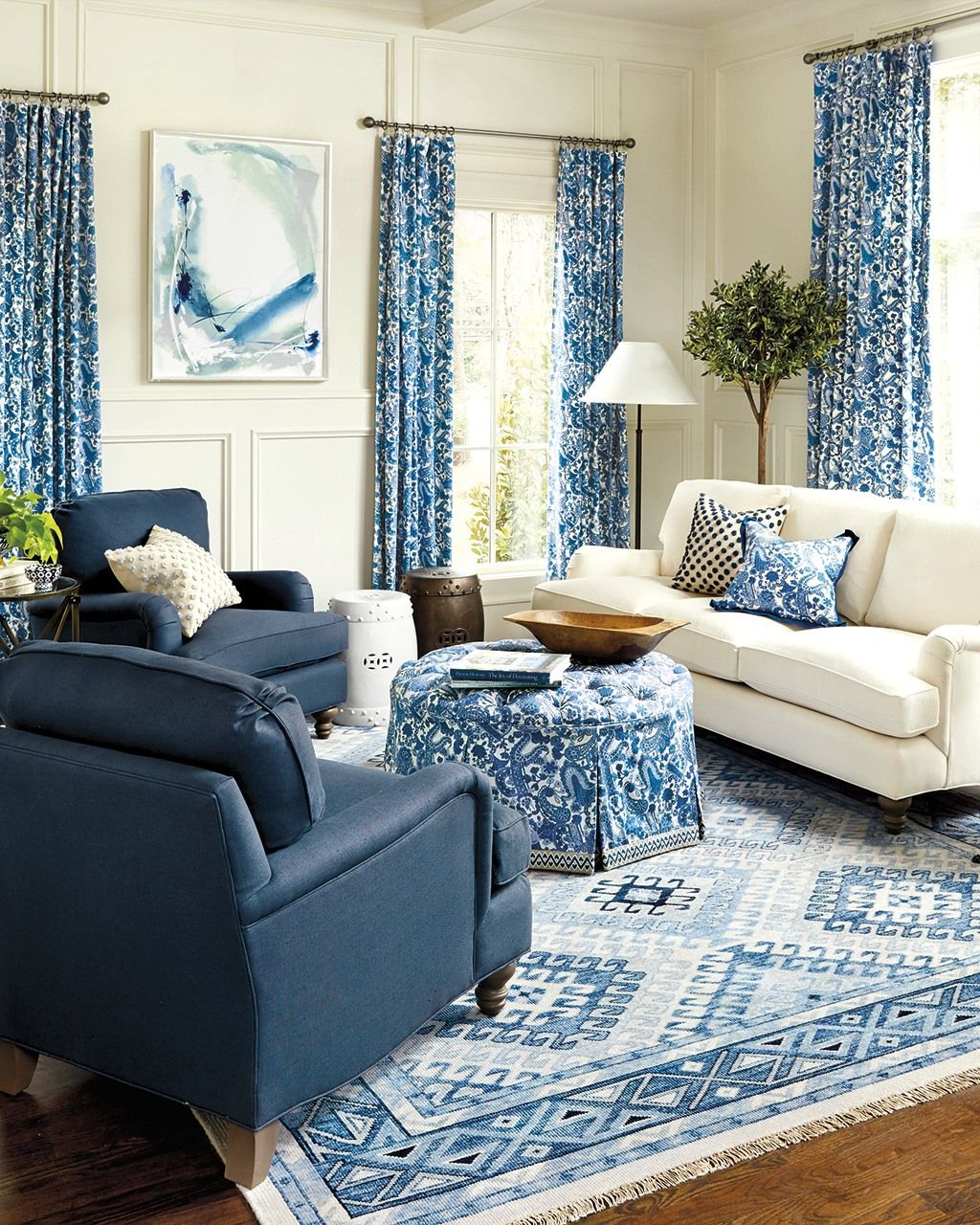 10 Living Rooms Without Coffee Tables How To Decorate Blue Living Room Sets Living Room Without Coffee Table Blue Living Room