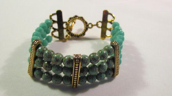 Triple strand  Bracelet with green Magnesite and glass by yasmi65, $17.00