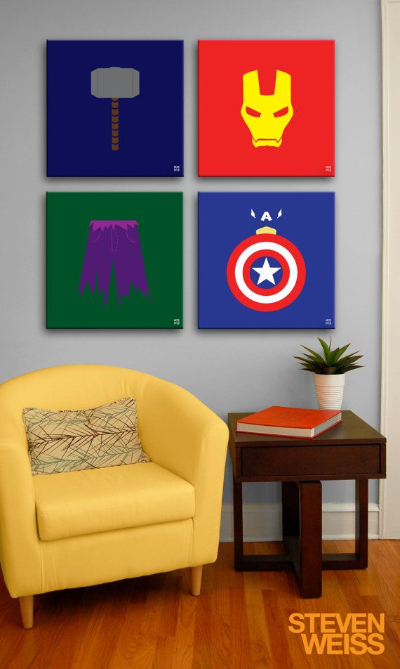 Painting On Canvas The Avengers Minimalism 12 By Whitepagedesigns 225 00 Avengers Painting Marvel Decor Superhero Room