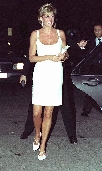 f042bd1dad8 Diana looked tanned and confident in a little white dress by close friend  Gianni Versace.