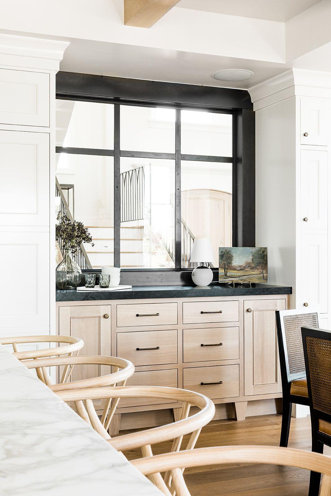 Steel Window Interior Window Partition Window Oak Buffet White