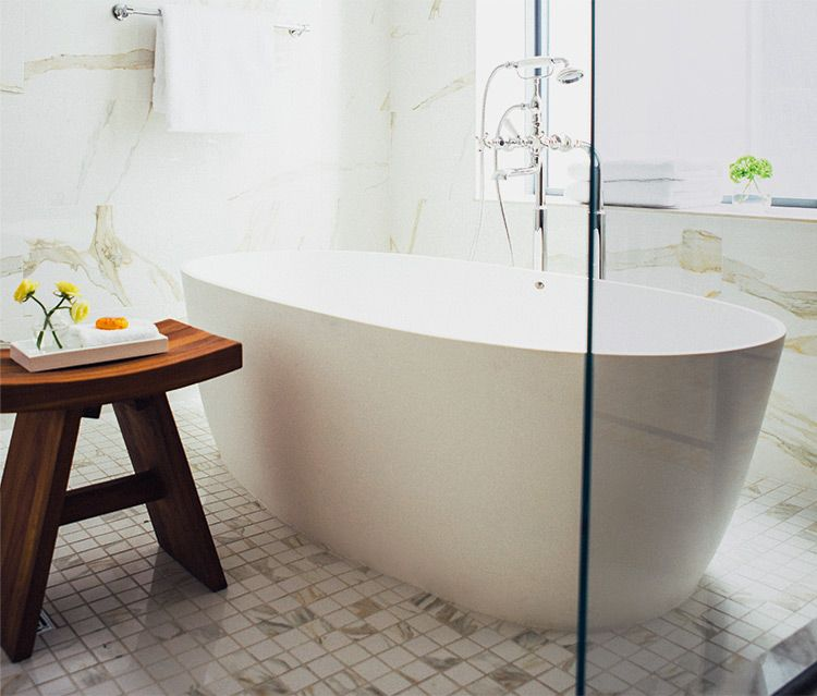 MTI Baths Elena 1 Freestanding Engineered Solid Stone Bath Tub