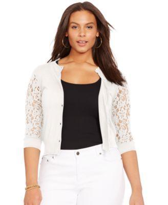 Lauren Ralph Lauren Plus Size Lace-Sleeve Cardigan