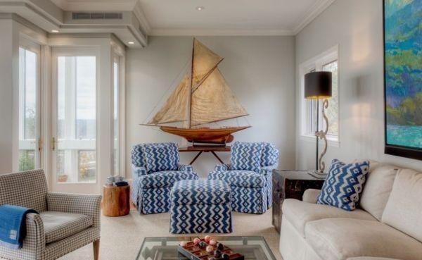 Elegant Nautical Interior Design Ideas Blue White Big Boat Model