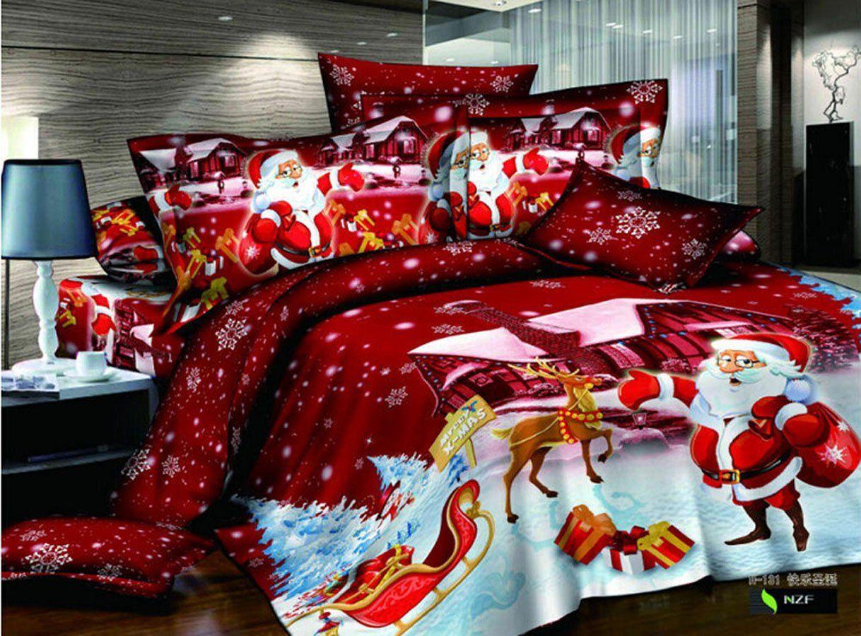 Biancheria Da Letto Natalizia.Home Set Biancheria Da Letto In Tessuto Colore Rosso Babbo Natale