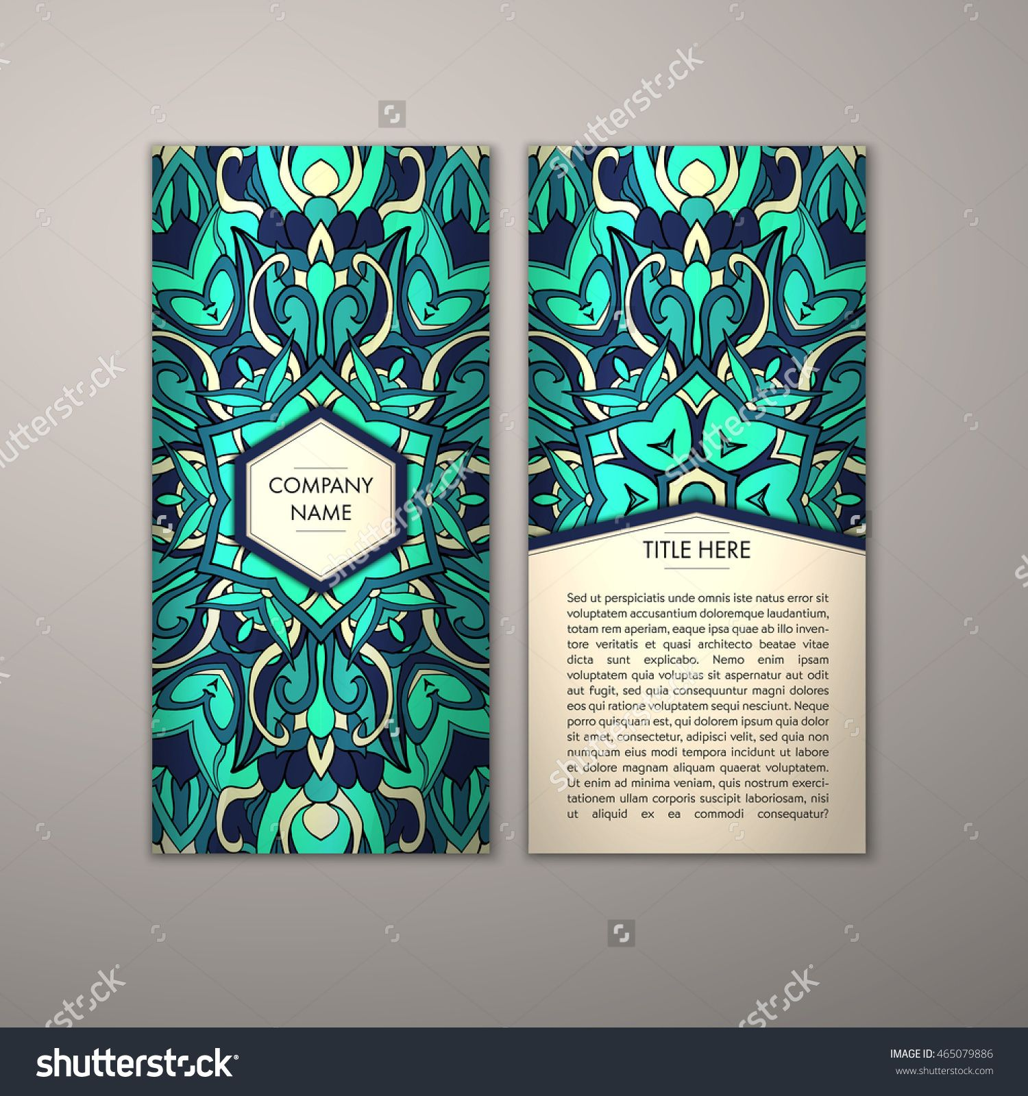 Flyer Template With Abstract Ornament Pattern. Vector Greeting Card Design. Front Page And Back Page. - 465079886 : Shutterstock