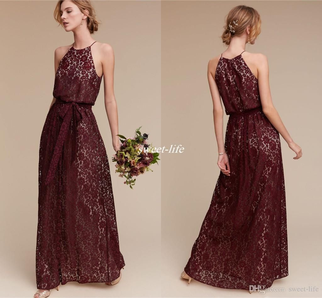 Deep burgundy lace long bridesmaid dresses halter sheath for Cheap wedding guest dresses