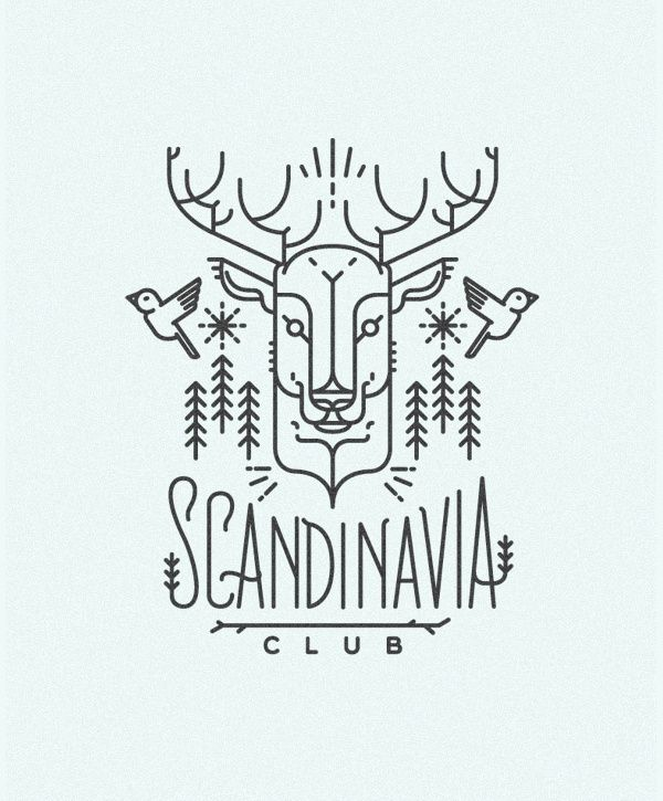 Scandinavia Club Illustration Line Design Illustration Art Drawing Scandinavia Craft Logo Typography Logo Line Illustration