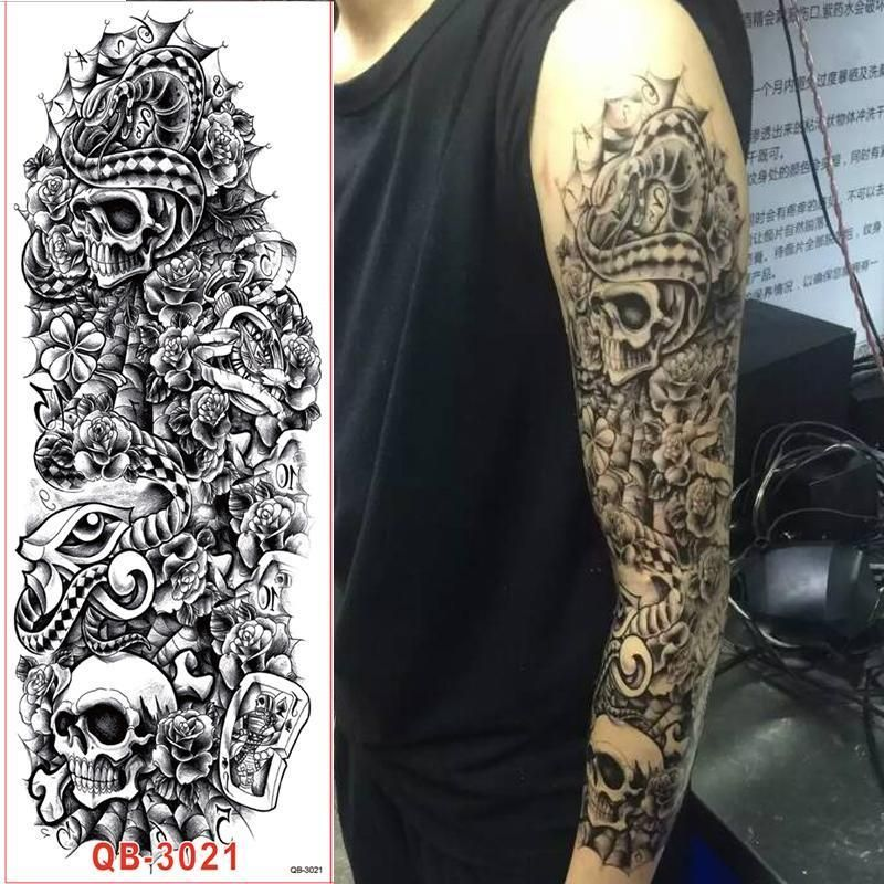 1Pc Full Arm Tattoo Stickers Large Flower Shoulder Fake