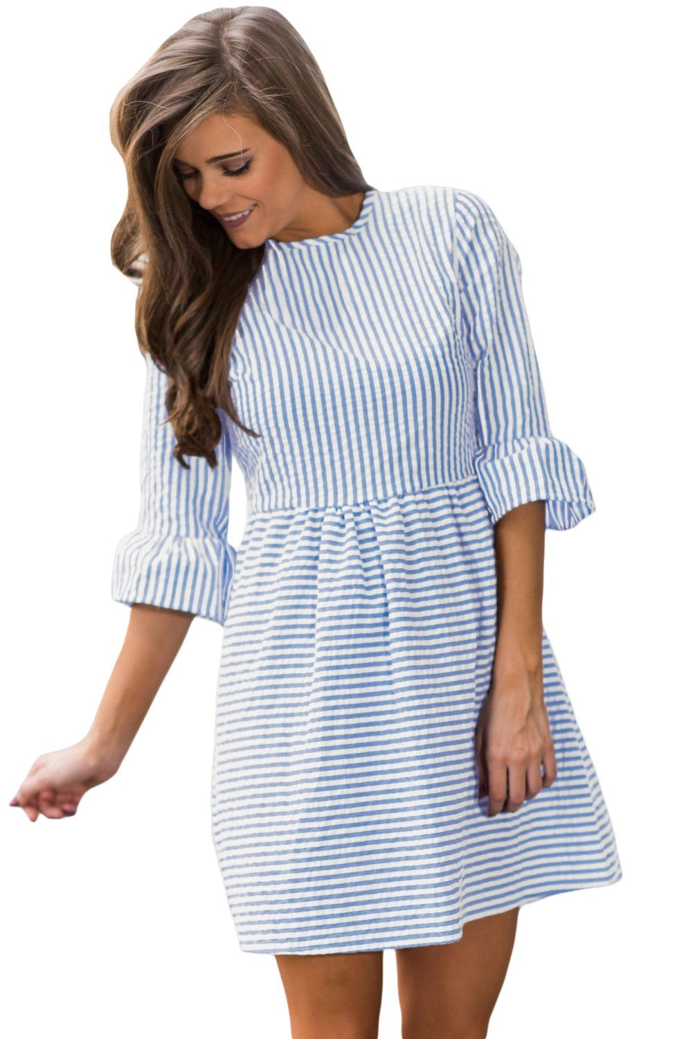 Top Tailor Womens Casual Summer 3 4 Sleeve Fit And Flare Mini Dress Sundressesnavy Whitem Details Can Be Found B Flare Mini Dress Mini Dress Seersucker Dress [ 1500 x 1001 Pixel ]